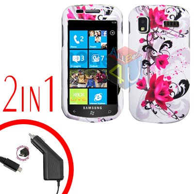 For Samsung Focus i917 Car Charger +Cover Hard Case W-Flower 2-in-1