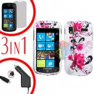 For Samsung Focus i917 Screen +Car Charger + Hard Case W-Flower 3-in-1