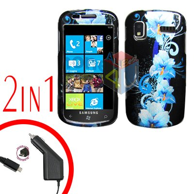 For Samsung Focus i917 Car Charger +Cover Hard Case Flower 2-in-1