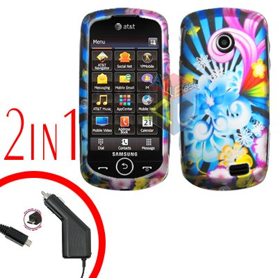 For Samsung Solstice II 2 A817 Car Charger +Cover Hard Case A-Flower 2-in-1