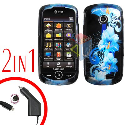 For Samsung Solstice II 2 A817 Car Charger +Cover Hard Case Flower 2-in-1