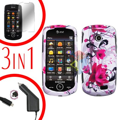 For Samsung Solstice II 2 A817 Screen +Car Charger +Cover Hard Case W-Flower 3-in-1