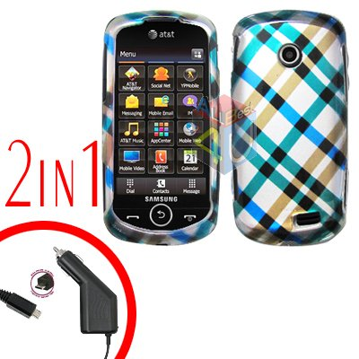 For Samsung Solstice II 2 A817 Car Charger +Cover Hard Case Plaid 2-in-1