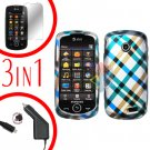 For Samsung Solstice II 2 A817 Screen +Car Charger +Cover Hard Case Plaid 3-in-1