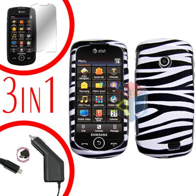 For Samsung Solstice II 2 A817 Screen +Car Charger +Cover Hard Case Zebra 3-in-1