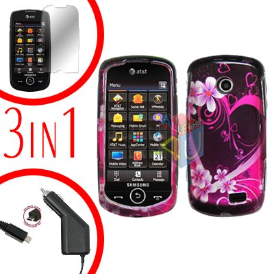 For Samsung Solstice II 2 A817 Screen +Car Charger +Cover Hard Case Love 3-in-1