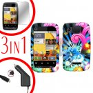 For Motorola Citrus WX445 Screen +Car Charger +Cover Hard Case A-Flower 3-in-1