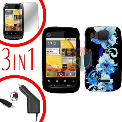 For Motorola Citrus WX445 Screen +Car Charger +Cover Hard Case Flower 3-in-1