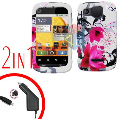 For Motorola Citrus WX445 Car Charger + Cover Hard Case W-Flower 2-in-1