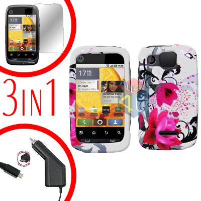 For Motorola Citrus WX445 Screen +Car Charger +Cover Hard Case W-Flower 3-in-1