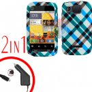For Motorola Citrus WX445 Car Charger + Cover Hard Case Plaid 2-in-1
