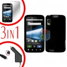 For Motorola Atrix 4G MB860 Screen +Car Charger +Cover Hard Case Rubberized Black 3-in-1