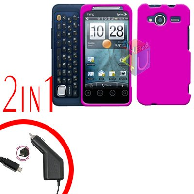 For HTC Evo Shift 4G Car Charger +Cover Hard Case Rubberized Hot Pink 2-in-1
