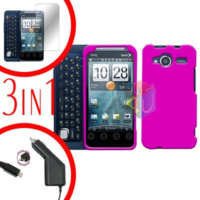 For HTC Evo Shift 4G Screen +Car Charger +Cover Hard Case Rubberized Hot Pink 3-in-1