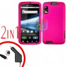 For Motorola Atrix 4G MB860 Car Charger + Cover Hard Case Rubberized Hot Pink 2-in-1