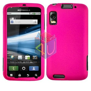 For Motorola Atrix 4G MB860 Cover Hard Case Rubberized Hot Pink