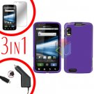 For Motorola Atrix 4G MB860 Screen +Car Charger +Cover Hard Case Rubberized Purple 3-in-1