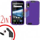 For Motorola Atrix 4G MB860 Car Charger + Cover Hard Case Rubberized Purple 2-in-1