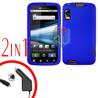 For Motorola Atrix 4G MB860 Car Charger + Cover Hard Case Rubberized Blue 2-in-1