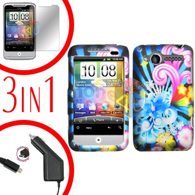 For HTC Wildfire 6225 Screen +Car Charger +Cover Hard Case A-Flower 3-in-1