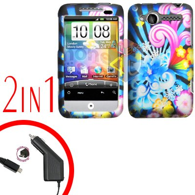 For HTC Wildfire Car Charger +Cover Hard Case A-Flower 2-in-1