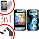 For HTC Wildfire 6225 Screen +Car Charger +Cover Hard Case Flower 3-in-1