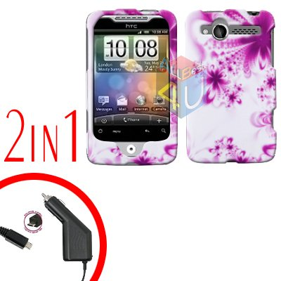 For HTC Wildfire Car Charger +Cover Hard Case H-Flower 2-in-1