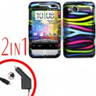 For HTC Wildfire Car Charger +Cover Hard Case Rainbow 2-in-1