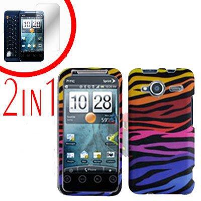 For HTC Evo Shift 4G Screen Protector + Cover Hard Case C-Zebra 2-in-1