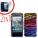 For HTC Evo Shift 4G Screen Protector + Cover Hard Case C-Zebra 2-in-1