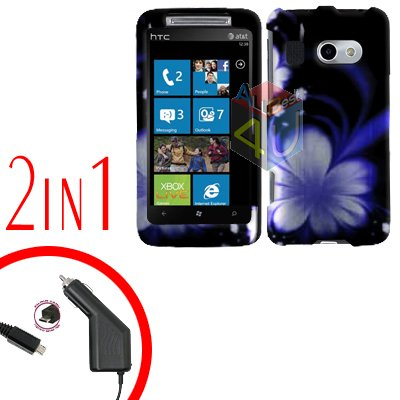 FOR HTC Surround T8788 Car Charger + Cover Hard Case B-Flower 2-in-1
