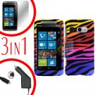 For HTC Surround T8788 Screen +Car Charger +Cover Hard Case C-Zebra 3-in-1