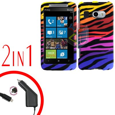 FOR HTC Surround T8788 Car Charger + Cover Hard Case C-Zebra 2-in-1