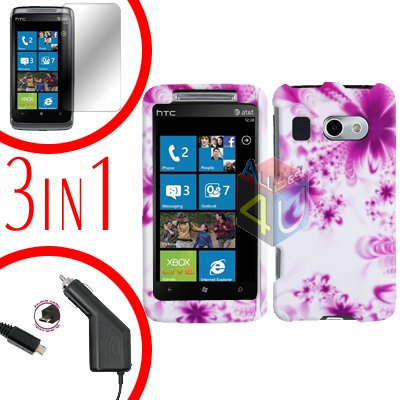 For HTC Surround T8788 Protector Screen +Car Charger +Cover Hard Case H-Flower 3-in-1