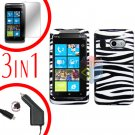 For HTC Surround T8788 Protector Screen +Car Charger +Cover Hard Case Zebra 3-in-1