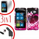 For HTC Surround T8788 Protector Screen +Car Charger +Cover Hard Case Love 3-in-1