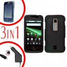 For Huawei Ascend M860 Screen Protector +Car Charger +Hard Case Rubberized Black 3-in-1