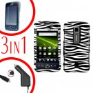 For Huawei Ascend M860 Screen Protector +Car Charger +Hard Case Zebra 3-in-1