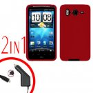 For HTC Inspire 4G Car Charger +Cover Silicon Case Red