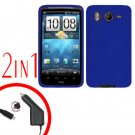 For HTC Inspire 4G Car Charger +Cover Silicon Case Blue