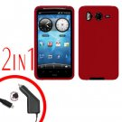 For HTC Desire HD A9191 Car Charger +Cover Silicon Case Red