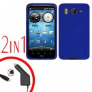 For HTC Desire HD A9191 Car Charger +Cover Silicon Case Blue