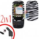 For Palm Pre 2 Car Charger +Cover Hard Case Zebra 2-in-1