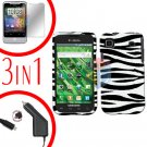 For Samsung Galaxy S 4G Car Charger +Hard Case Zebra +Screen