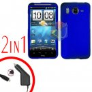 For HTC Inspire 4G Car Charger +Cover Hard Case Blue 2-in-1