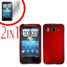 For HTC Inspire 4G Cover Hard Case Red + Screen Protector 2-in-1