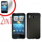 For HTC Inspire 4G Cover Hard Case Black + Screen Protector 2-in-1