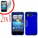 For HTC Desire HD Cover Hard Case Blue + Screen Protector 2-in-1