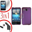 For HTC Inspire 4G Car Charger +Cover Hard Case Purple +Screen 3-in-1