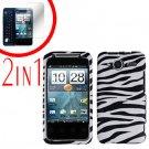 For HTC Evo Shift 4G Cover Hard Case Zebra +Screen 2-in-1